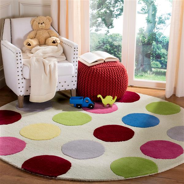 Safavieh Kids Round Rug - 4' x 4' - Wool - Ivory/Multi