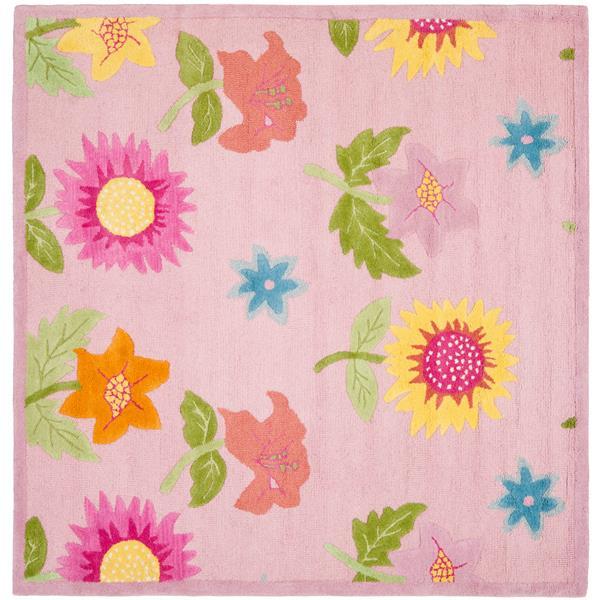 Safavieh Kids Square Rug - 7' x 7' - Wool - Pink