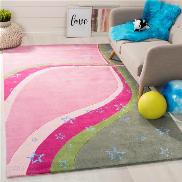 Safavieh Kids Rug - 3' x 5' - Wool - Green/Pink