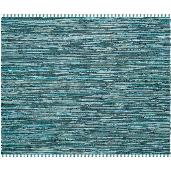 Safavieh Rag Rug Square Rug - 6' x 6' - Cotton - Turquoise/Multi