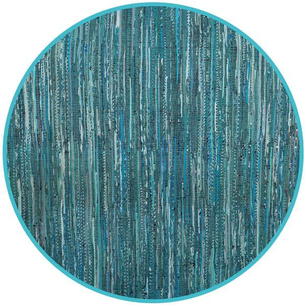 Safavieh Rag Rug Round Rug - 6' x 6' - Cotton - Turquoise/Multi