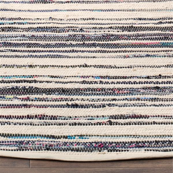 Safavieh Rag Rug - 2.5' x 4' - Cotton - Ivory/Charcoal