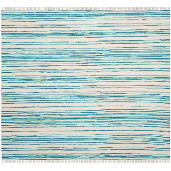 Safavieh Rag Rug Square Rug - 6' x 6' - Cotton - Ivory/Green