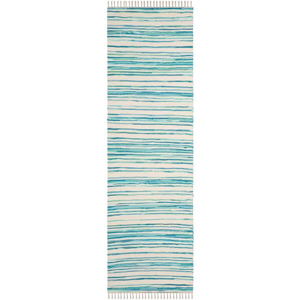 Safavieh Rag Rug - 2.3' x 8' - Cotton - Ivory/Green