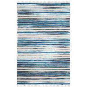 Safavieh Rag Rug - 4' x 6' - Cotton - Ivory/Blue