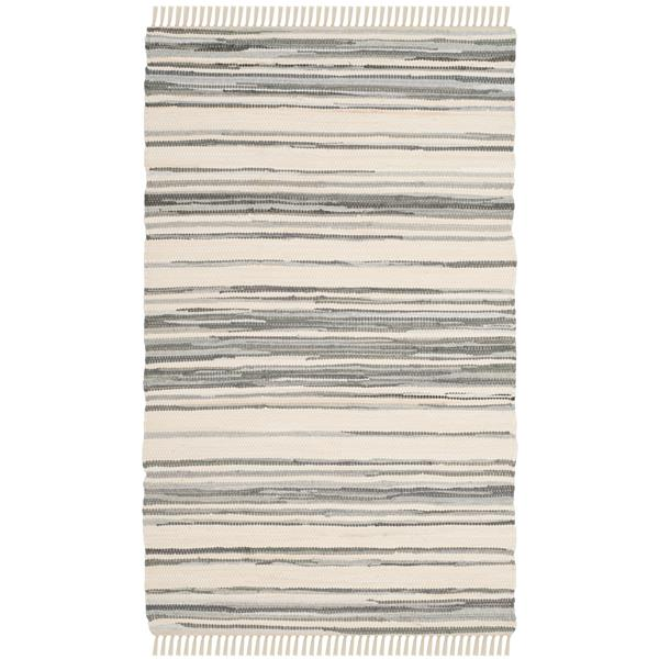 Safavieh Rag Rug - 2.5' x 4' - Cotton - Ivory/Grey