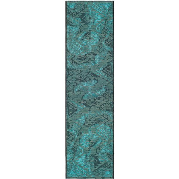 Safavieh Palazzo Rug - 2' x 7.3' - Polypropylene - Black/Turquoise