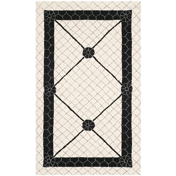 Safavieh Newport Rug - 2.5' x 4.3' - Cotton - Ivory/Black