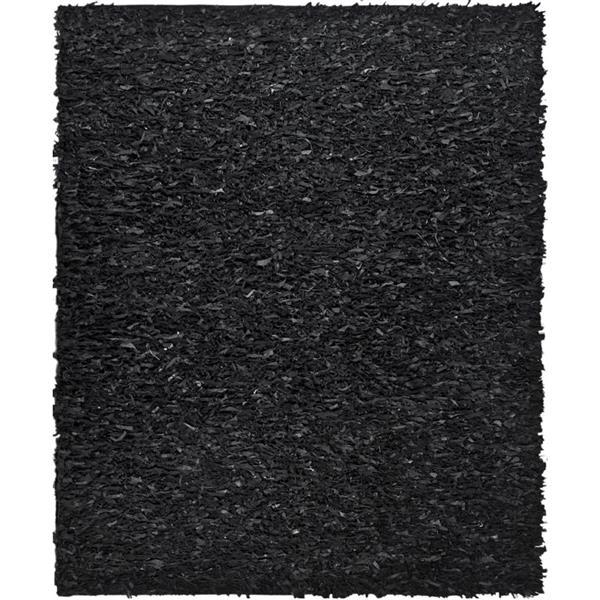 Safavieh Leather Shag Rug - 8' x 10' - Leather - Black