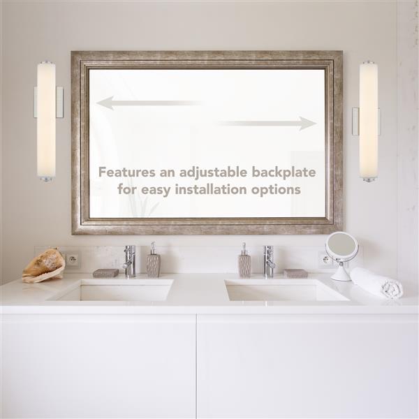 Golden Lighting Zen LED Bath Bar Light with Glass - Pewter