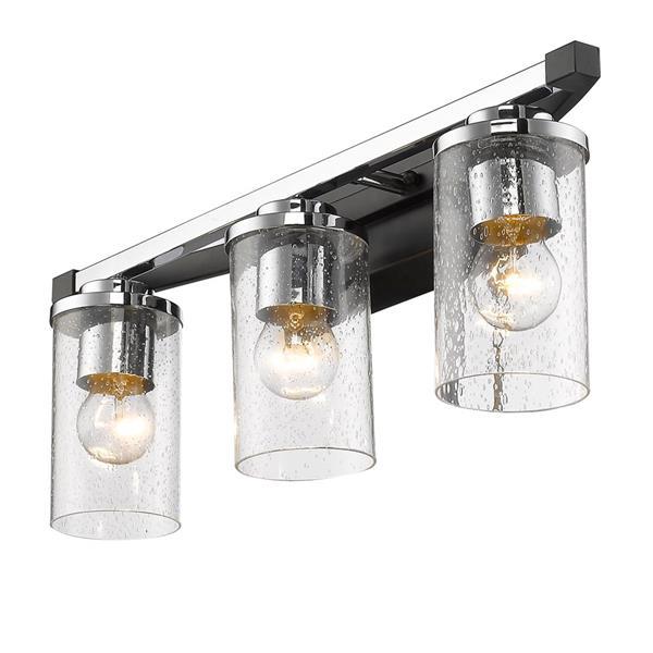 Golden Lighting Mercer 3-Light Bath Vanity Light with Glass - Black