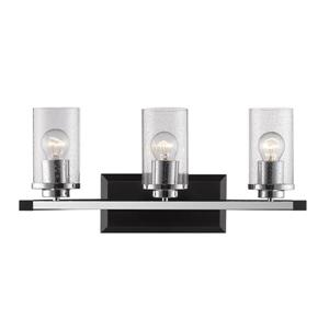 Golden Lighting Mercer 3-Light Bath Vanity Light with Glass - Black