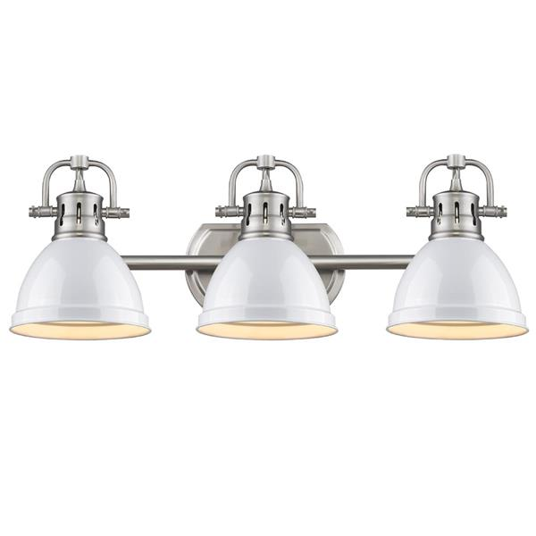 Golden Lighting Duncan 3-Light Bath Vanity Light with Shade - Pewter
