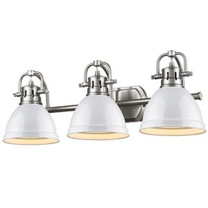 Golden Lighting Duncan 3-Light Bath Vanity Light with Shade - Pewter