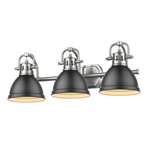 Golden Lighting Duncan 3-Light Vanity with Light Shade - Pewter/Black