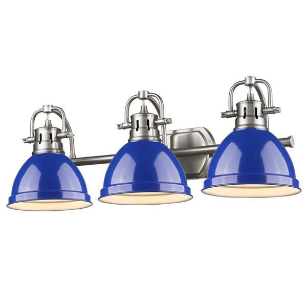Golden Lighting Duncan 3-Light Bath Vanity Light with Shade -Pewter/Blue