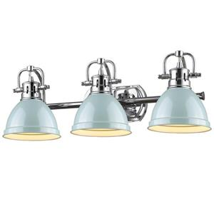 Golden Lighting Duncan 3-Light Bath Vanity Light with Shade - Chrome