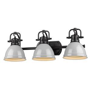 Golden Lighting Duncan 3-Light Bath Vanity Light with Shade - Black/Gray