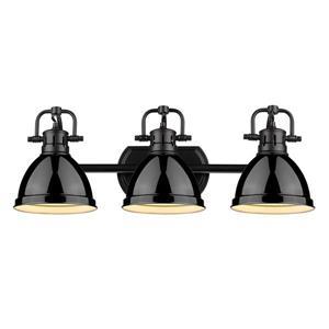 Golden Lighting Duncan 3-Light Bath Vanity Light with Shade - Black