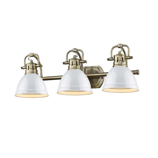Golden Lighting Duncan 3-Light Bath Vanity Light with Shade -Brass/White