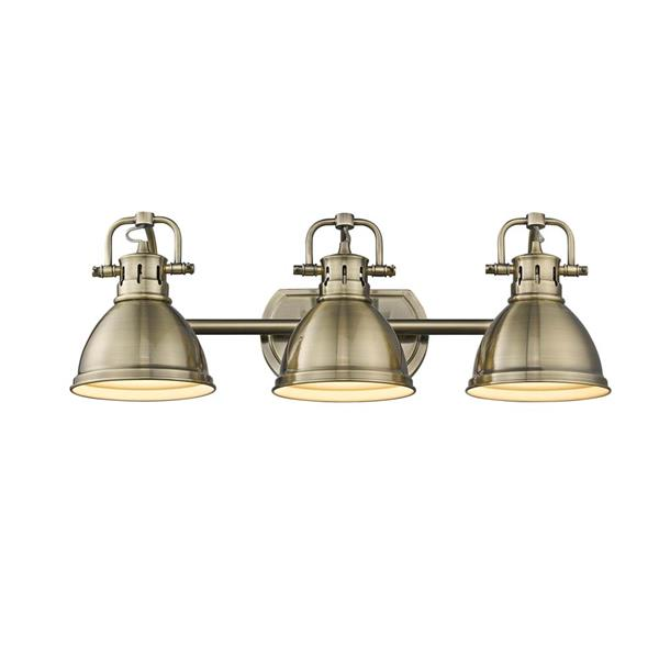 Golden Lighting Duncan 3-Light Vanity Light with Shade - Brass