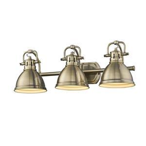 Golden Lighting Duncan 3-Light Vanity Light with Shade - Brass