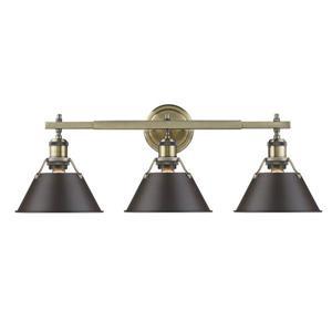 Golden Lighting Orwell 3-Light Vanity Light with Shade - Brass/Bronze