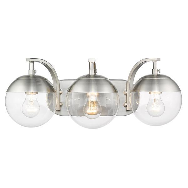 Golden Lighting Dixon 3-Light Vanity Light with Glass - Pewter