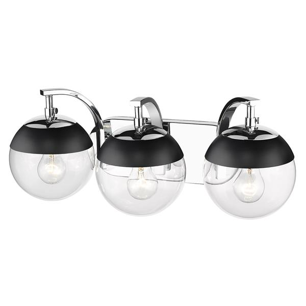 Golden Lighting Dixon 3-Light Vanity Light with Glass - Chrome/Black