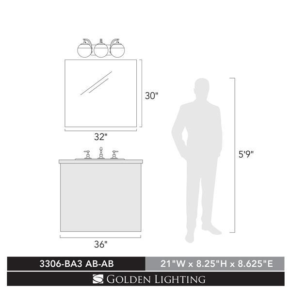 Golden Lighting Dixon 3-Light Vanity Light with Glass - Black