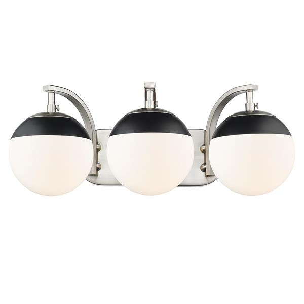 Golden Lighting Dixon 3-Light Vanity Light with Glass - Pewter/Black