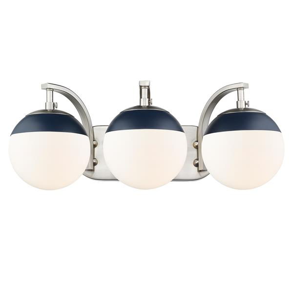 Golden Lighting Dixon 3-Light Vanity Light with Glass - Pewter