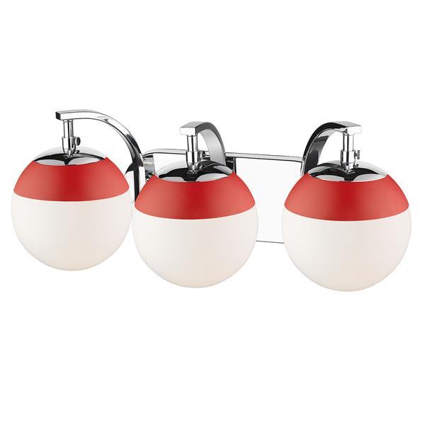 Golden Lighting Dixon 3-Light Vanity Light with Glass - Chrome
