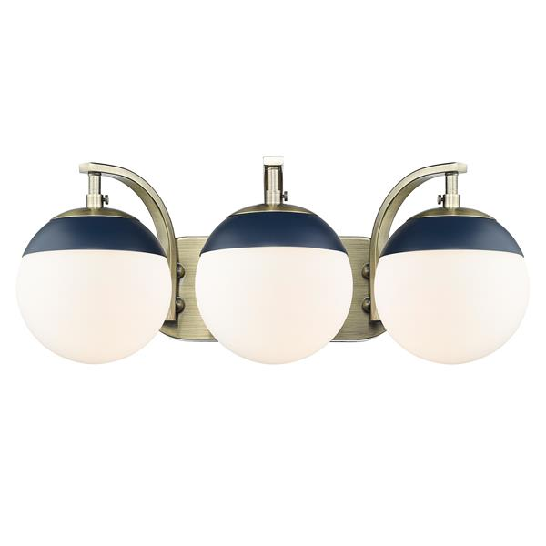 Golden Lighting Dixon 3-Light Vanity Light with Glass - Brass