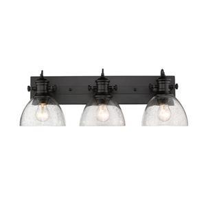 Golden Lighting Hines 3-Light Bath Vanity Light with Glass - Black