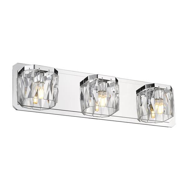 Golden Lighting Krysta 3-Light LED Vanity Light with Crystal Glass - Chrome
