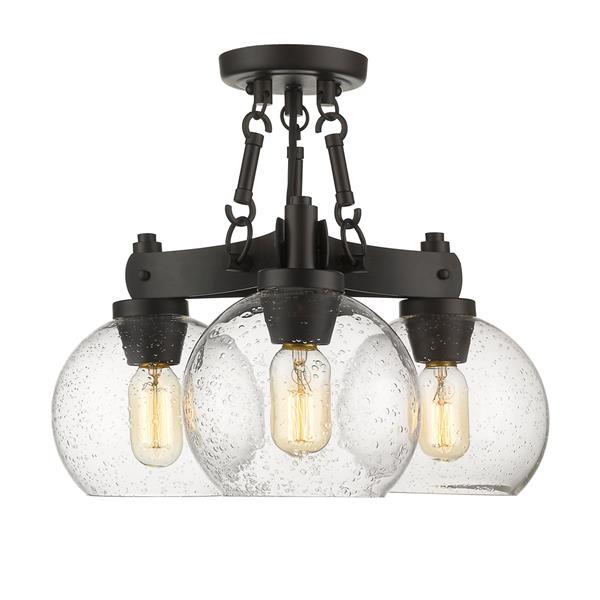 Golden Lighting Galveston Semi-Flush Light with Glass - Bronze