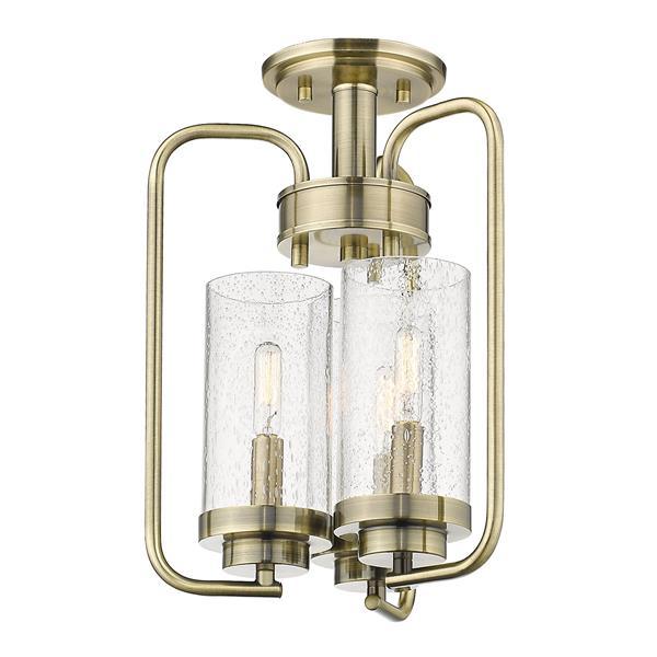Golden Lighting Holden 3-Light Semi-Flush Light - Aged Brass