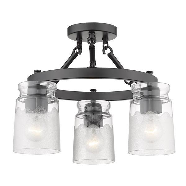 Golden Lighting Travers 3-Light Semi-Flush Light - Black
