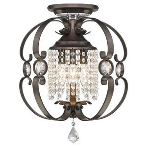 Golden Lighting Ella Semi-Flush Light - Etruscan Bronze