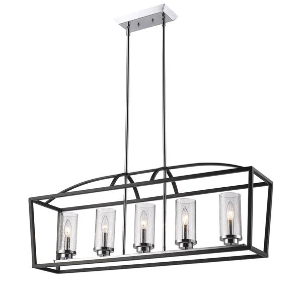 Golden Lighting Mercer 5-Light Linear Pendant Light - Black