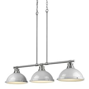 Duncan 3-Light Linear Pendant Light with Shades - Pewter