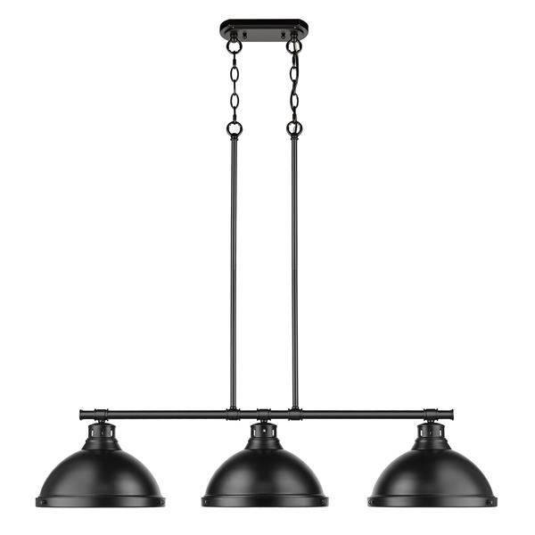 Golden Lighting Duncan 3-Light Linear Pendant Light with Shades - Black