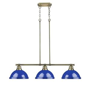 Duncan 3-Light Linear Pendant Light with Shades - Brass