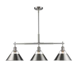 Orwell Linear Pendant Light with Shade - Pewter