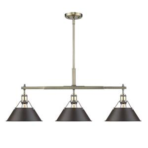 Orwell Linear Pendant Light with Shade - Aged Brass