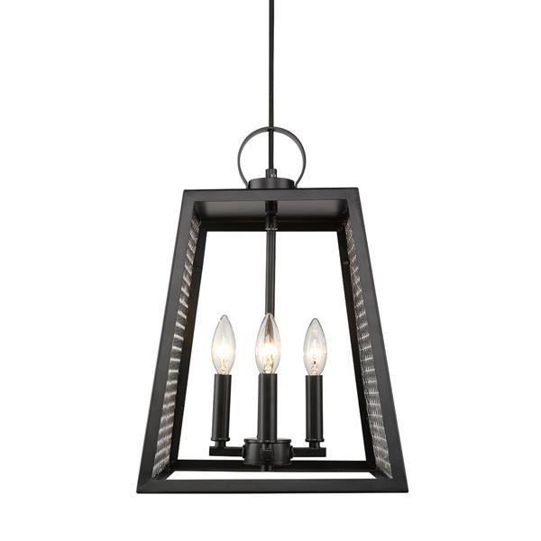 Golden Lighting Abbott 4-Light Pendant Light with Panels - Black
