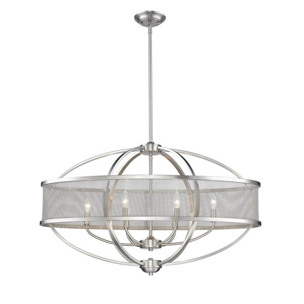 Golden Lighting Colson Linear Pendant Light with Shade - Pewter