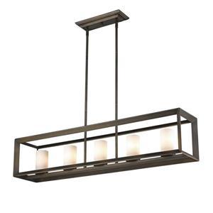Golden Lighting Smyth 5-Light Linear Pendant Light - Gunmetal Bronze