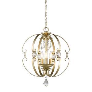 Golden Lighting Ella 3-Light Pendant Light - White Gold